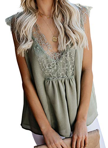 Shirts Blouses for Women Summer Casual Loose Fitting Tops Elegant Lace Crop Top Adjustable Spaghetti Strap Blouse Green L