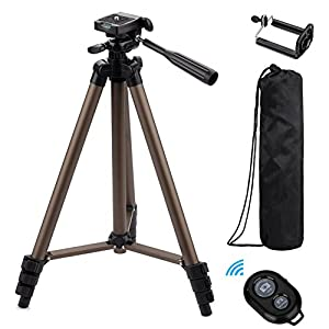 Eocean 54 Inch Selfie Stick Tripod, 3 in 1 Extendable iPhone Self-portrait Monopod, Handheld Tripod, Video Tripod for Cellphone and Camera, with Bluetooth Remote for Cellphone and Camera