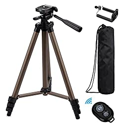 Adjustable-height and 3-way head tripod - Adjustable-height tripod, three extendable sections, makes it easy to achieve reliable stability and catch just the right angle when going after that award-winning shot. The leg height can be individually adj...