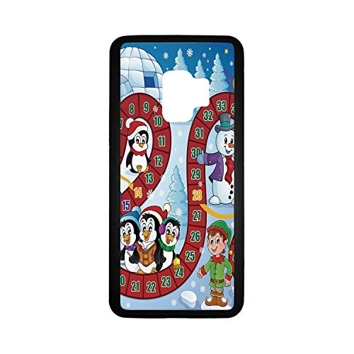 Board Game Rubber Phone Case,Christmas Themed Composition with Santa Claus Cartoon Angel Snowman Penguins Elf Compatible with Samsung Galaxy S9,One Size ()