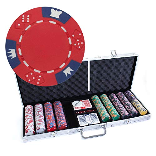 Poker Clay Chips Denominated Composite - Brybelly 500 Count Crown & Dice Poker Set - 14 Gram Clay Composite Chips with Aluminum Case, Playing Cards, Dealer Button for Texas Hold'em, Blackjack, Casino Games