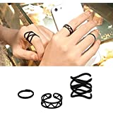 Sumanee Cross Punk Hollow 3Pcs/Set Black Above Finger Knuckle Rings Rings