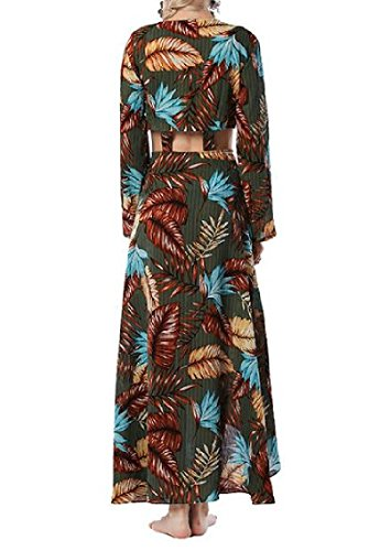 Coolred-femmes Manches Longues Imprimé Floral Plage Boho Maxi Robes Longues As1