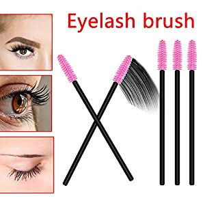 AOLANS 100PCS Disposable Mascara Brushes Eyeliner Brushes Makeup Tool Kits Black and pink(2 colors)
