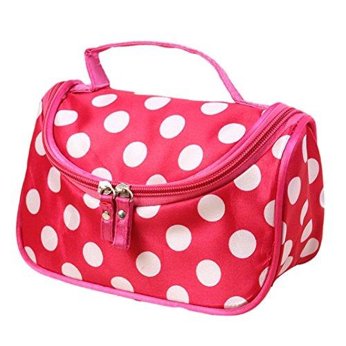 [Hatop Fashionable Women Polka Dot Flip Double Zipper Cosmetic Bag Travel Bags Makeup Bag (Hot Pink)] (Replica Makeup)