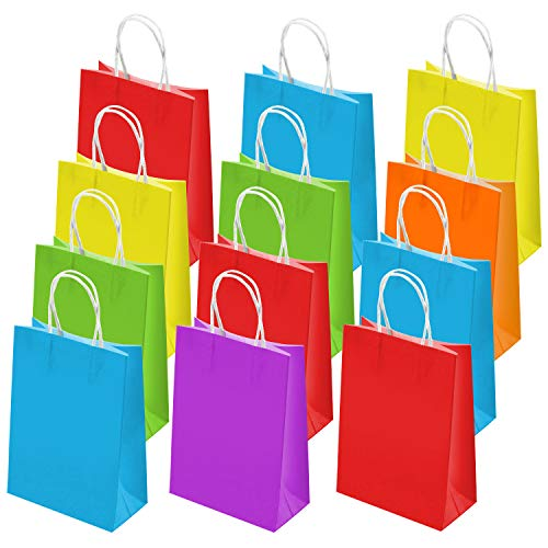 SIQUK 36 Pieces Colored Paper Bags Kraft Candy Bags Party Favor Bag with Handles for Party, 6 Colors