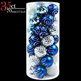 Valery Madelyn 35ct 70mm Winter Wishes Blue Silver Shatterproof Christmas Ball Ornaments Decoration, 7cm/2.75 inch ,35 Pcs Metal Hooks Included