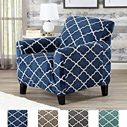 Great Bay Home Modern Velvet Plush Strapless Slipcover. Form Fit Stretch, Stylish Furniture Shield/Protector. Magnolia Collection Strapless Slipcover Brand. (Chair, Navy)