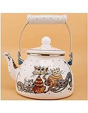 ZHANGZONG thee waterkoker voor fornuis top ketel kookplaat fluitende thee ketel Emaille Kettle/Ketel Kookplaat, Fluitje Kettle.Geschikte Fornuizen: Gasfornuis, Inductie Kachel. (Kleur: Wit Maat: 1.5L) 8.10