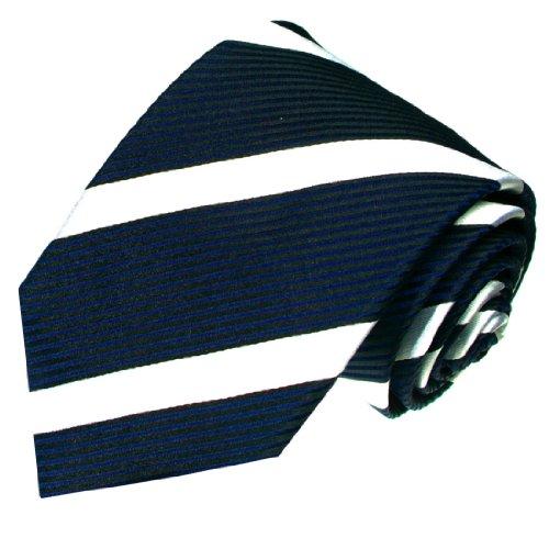 - LORENZO CANA - Italian 100% Silk Jacquard Necktie Blue Navy White Stripes - 84286
