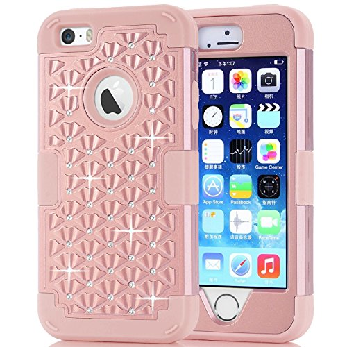 Hocase iPhone 5s Cute Case with Sparkly Glitter Bling Rhinestones Hybrid Dual Layer Protective Hard Back Cover+Silicone Bumper for Apple iPhone 5/5s/SE - Rose Gold (Iphone 5s Case Cute Bling)