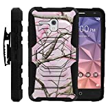 Alcatel One Touch Fierce XL Case, [Armor Reloaded] 2 Layer Shell Rugged Armor Shell Belt Holster Clip Case with Unique Graphic Images for [Fierce XL 5054N] by Miniturtle® - Pink Hunter Camouflage