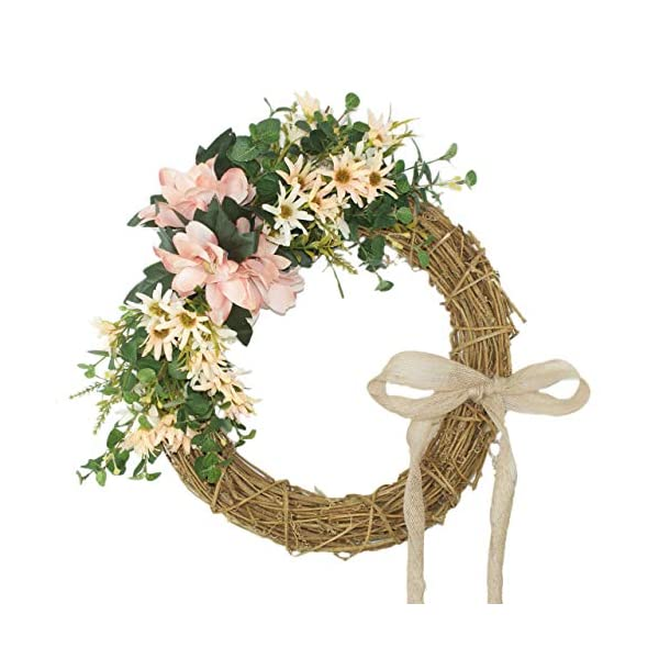 Forevercute 15.75 Inch Summer Door Wreath-Handcrafted On A Grapevine Wreath Base- Pink and Green Tones
