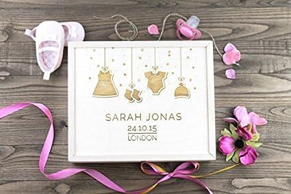 Bebé caja de recuerdos de madera personalizada/de recuerdos/Baby Shower/bebé bautizo