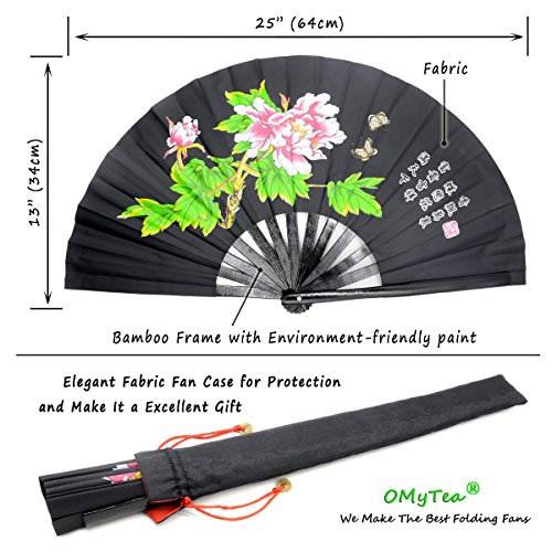 OMyTea Bamboo Large Rave Folding Hand Fan for Men/Women - Chinese Japanese  Kung Fu Tai Chi Handheld Fan with Fabric Case - for Performance,