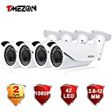 Cheap TMEZON 4 Pack 2.0MP HD-TVI Waterproof HD Bullet Camera 2.8-12mm Zoom Lens 1080P SONY Sensor 42IR 130ft Day Night ONLY WORK WITH HD-TVI DVR