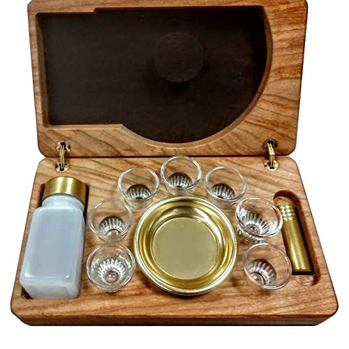 Artistic Mfg. 7 Cup Portable Communion Set with Oil Stock and Wooden Case