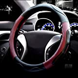Valleycomfy Microfiber Leather Steering Wheel Covers Universal 15 inch (Style 3-Red)