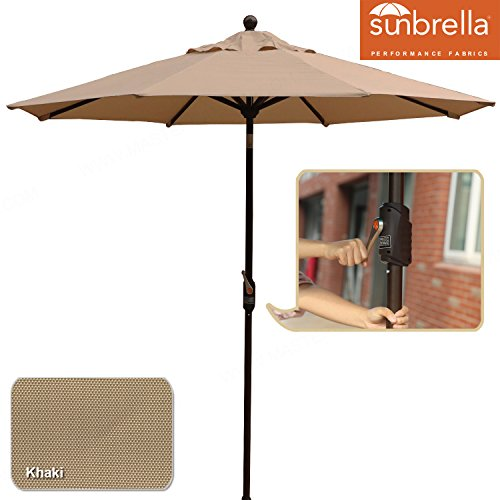 MASTERCANOPY 9′ Outdoor Table Aluminum Patio Umbrella with Auto Tilt and Crank, 8 Ribs, Polyester (Khaki) For Sale