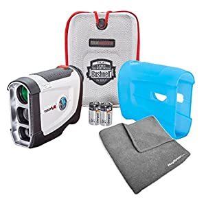 Bushnell Tour V4 (Standard) Golf Rangefinder PATRIOT PACK BUNDLE with Carrying Case, Blue Protective Skin, PlayBetter Microfiber Towel and Two (2) CR2 Batteries
