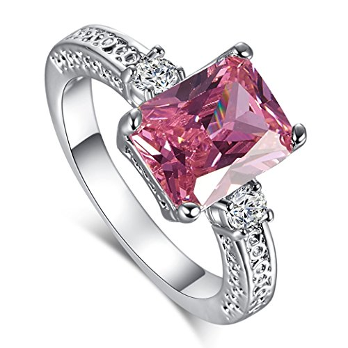 Narica Womens Fashion Simple 8mmx10mm Emerald Cut Pink Topaz CZ Engagement Ring Band (Topaz Engagement Genuine Ring)