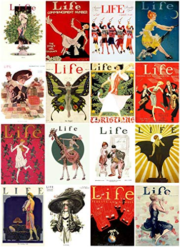 Vintage Life Magazine Covers Printed Collage Sheet for Altered Art, Scrapbooking, Decoupage