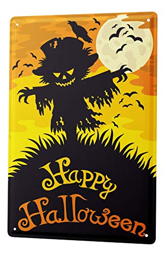 DYTrade Tin Metal Sign Happy Halloween Scary Scarecrow with Moon and Bats Comic Cartoon 30x40 cm Metal Shield Shield Wall Art Deco Decoration Retro Advertising -