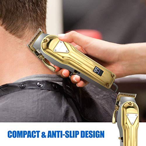 Cosyonall Cordless Hair Clippers Rechargeable Electric Beard Trimmer for Men Women Children Barber Grooming Hair Cutting Kit Haircut Hair Trimming with Stainless Steel Metal Housing LED Display Gold