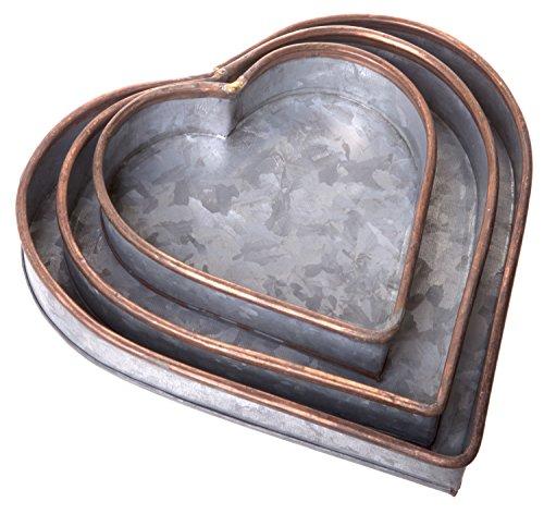 Red Co. Lovely Decorative Nesting Heart Trays, Galvanized Metal Storage Organizer Centerpiece Décor, Set of 3 Sizes