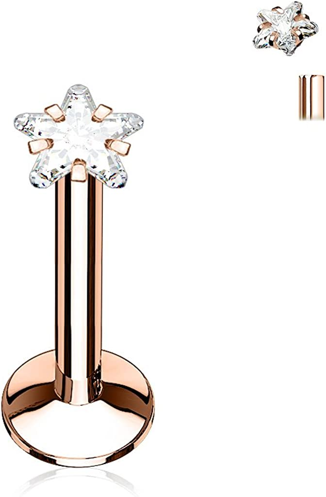 FIFTH CUE Star CZ Prong Set PVD Over All 316L Internally Threaded Labret Monroe Cartilage Stud Ring Surgical Steel