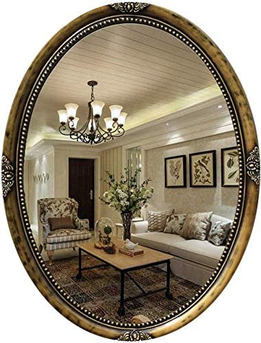 ZS 家庭用品& 化粧鏡ビッグウォールミラー、レトロブラックオーバル浴室化粧鏡壁掛け装飾美容化粧鏡部屋のドレッシングを行うための廊下(カラー:ゴールド) (Color : Gold)
