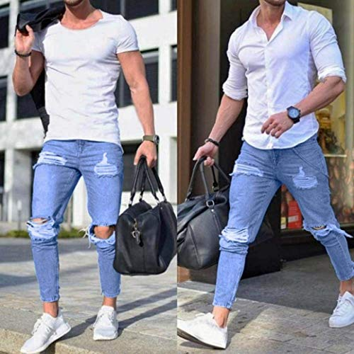 Slim Jeans Casual Blau Denim Pantaloni Fit Chern In Da Pants Destroyed Strech Skinny Uomo Moderna w1fqAYf