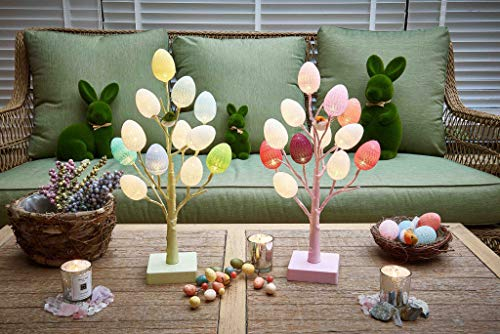 Hairui Pre Lit Easter Egg Tree 12LED 18IN Pastel Pink Tree with Multicolor Eggs, Cute Lighted Egg Tree for Childrens Room Office Decoration Battery Operated by Hairui (Image #2)
