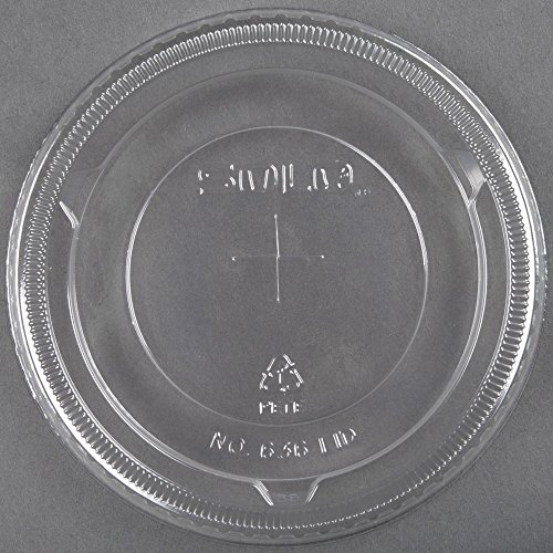 Dart Solo L16BL-0100 12-24 oz. Translucent Flat Plastic Lid with Straw Slot and Identification Buttons 2000/Case