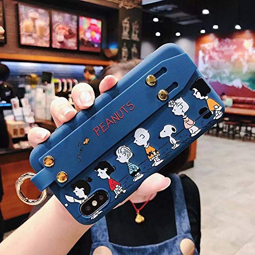 1 PC Cartoon line up Pink Snoopys + wris tmetal Buckle Bracket Soft Cover case for iPhone 6 7 8 Plus X XR XS MAX Phone Cases (Blue, iPhone Xs MAX) -