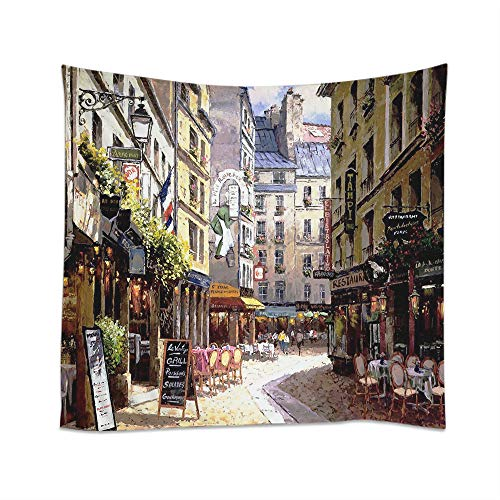 Moslion Paris Tapestry Vintage Painting France Street Cafe European Building French Shops Wall Hanging Tapestries One Side Decorative Home Art Polyester for Living Room 60x80 Inch