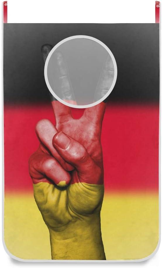 XiangHeFu Foldable Large Peace Hand Germany Flag Basket Laundry Hamper Cloth Bag Bedroom Door-Hanging
