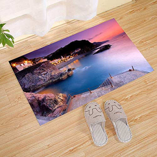 JANNINSE Sunset Brown Rock Seaside Villa House Blue Sea Water Pink Sky Small Door Mat, Non-Slip Outdoor Door Mat, Rubber Lining Entry Carpet, Front Door, All Weather Exterior Door, 18 X 30Inch
