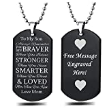 CEZB Personalize Messsage Engrave on Back Side of Stainless Steel Always Remember You are Braver Than You Believe Dog Tag Pendant Necklace Keychain