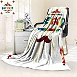 YOYI-HOME Digital Printing Duplex Printed Blanket Ethnic Mexican Design in Native Style Summer Quilt Comforter/47 W by 59'' H