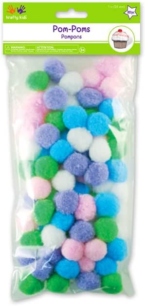 300 Per Package Pepperell POM-PMV Assorted Pom Poms Animal Colors