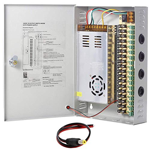 UHPPOTE 18 Channel Power Supply Switch Box CCTV Camera Distribution DC12V 30A - Switch Box Supply Power
