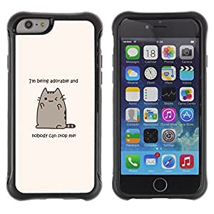 WAWU Rugged Armor Slim Protection Case Cover Shell -- adorable cat cartoon character motivational -- Apple Iphone 6