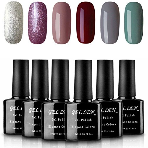 Gellen UV LED Gel Nail Polish Set 6 Colors, Collection Pure