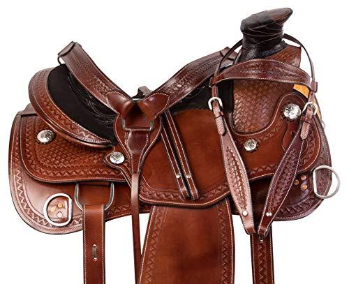 AceRugs Hand Tooled Western Leather Training Horse Saddle Ranch Work Wade Tree Roping TACK Set (16)