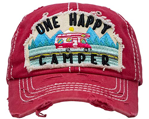 One Womens Cap - BH-203-OHC52 Distressed Patch Baseball Cap - ONE Happy Camper - Coral