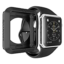 Apple Watch Case 42mm, LUVVITT [Ultra Armor] High Performance Fluoroelastomer Flexible Rubber Case for Apple Watch All Editions 42 mm - Black