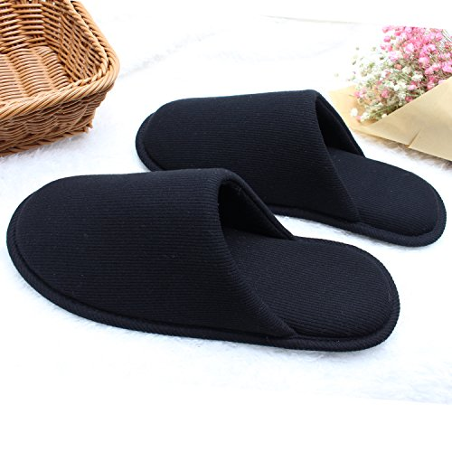 Ofoot Men's Cozy Thread Cloth Organic Cotton House Slippers, Washable Flat Indoor/Outdoor Slip On Shoes (Small/7.5-8.5 D(M) US, Black) by Ofoot (Image #4)