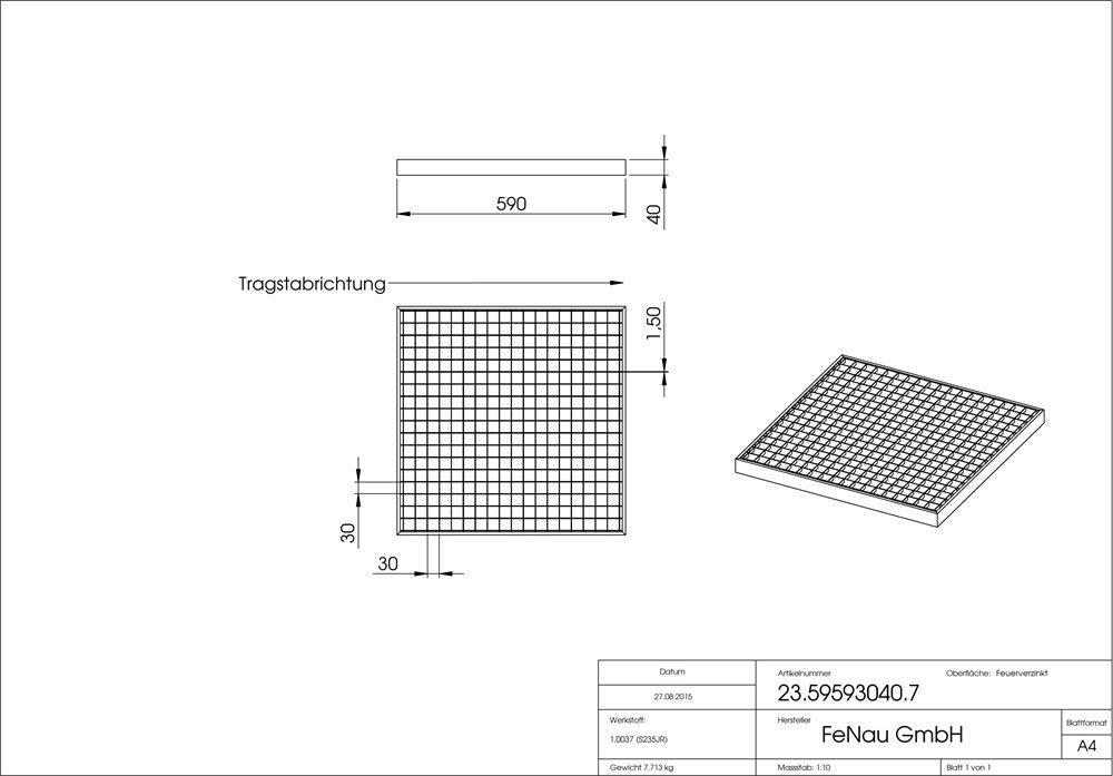 Cadre: 500 x 500 x 33 mm Pour les garages Dimensions: 490 x 490 x 30 mm Fenau Maillage: 30//10 mm Caillebotis // Grille conforme aux normes de l/'industrie du b/âtiment