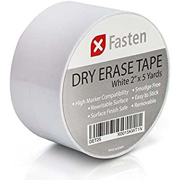 XFasten Dry Erase Tape, 2-Inch x 5-Yard, White, Smudge Free and Does Not Rub Off Unnecessarily